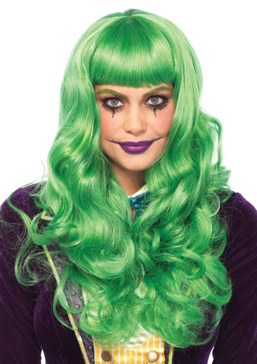 Misfit long wavy wig with adjustable elastic strap in GREEN
