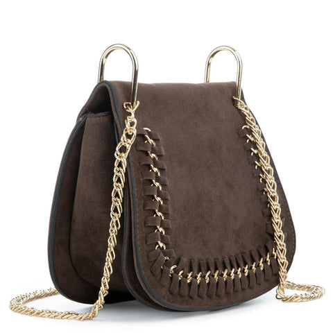 Chocolate Mini Suede Shoulder Purse
