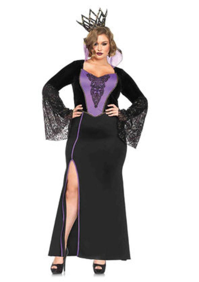 2PC.Evil Queen,high slit dress w/lace sleeves,crown headband 1X-2X BLACK/PURPLE