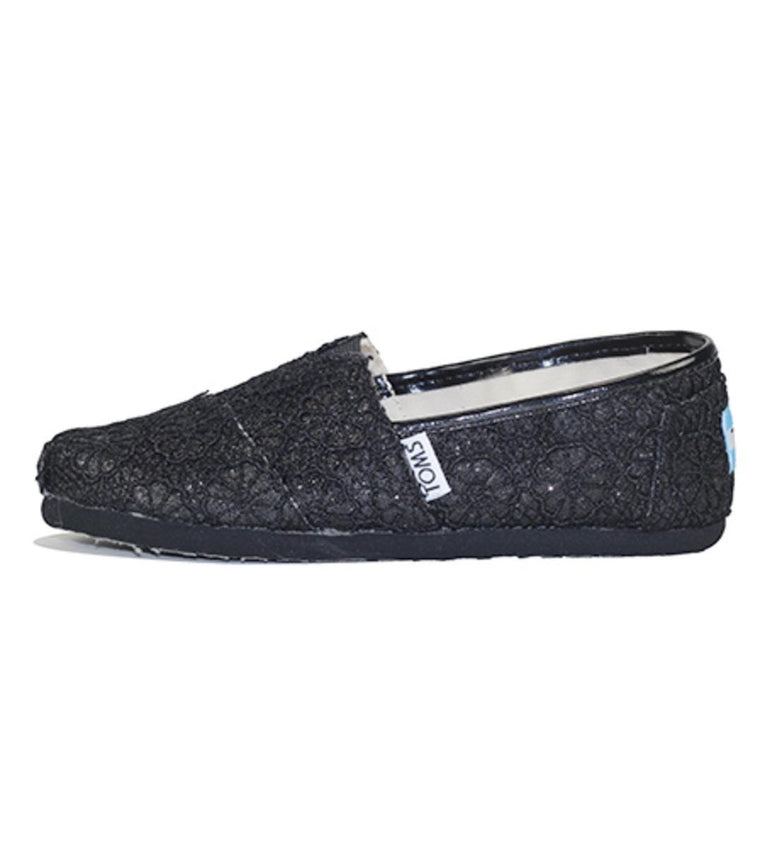 Toms for Kids: Classic Black Crochet Glitter