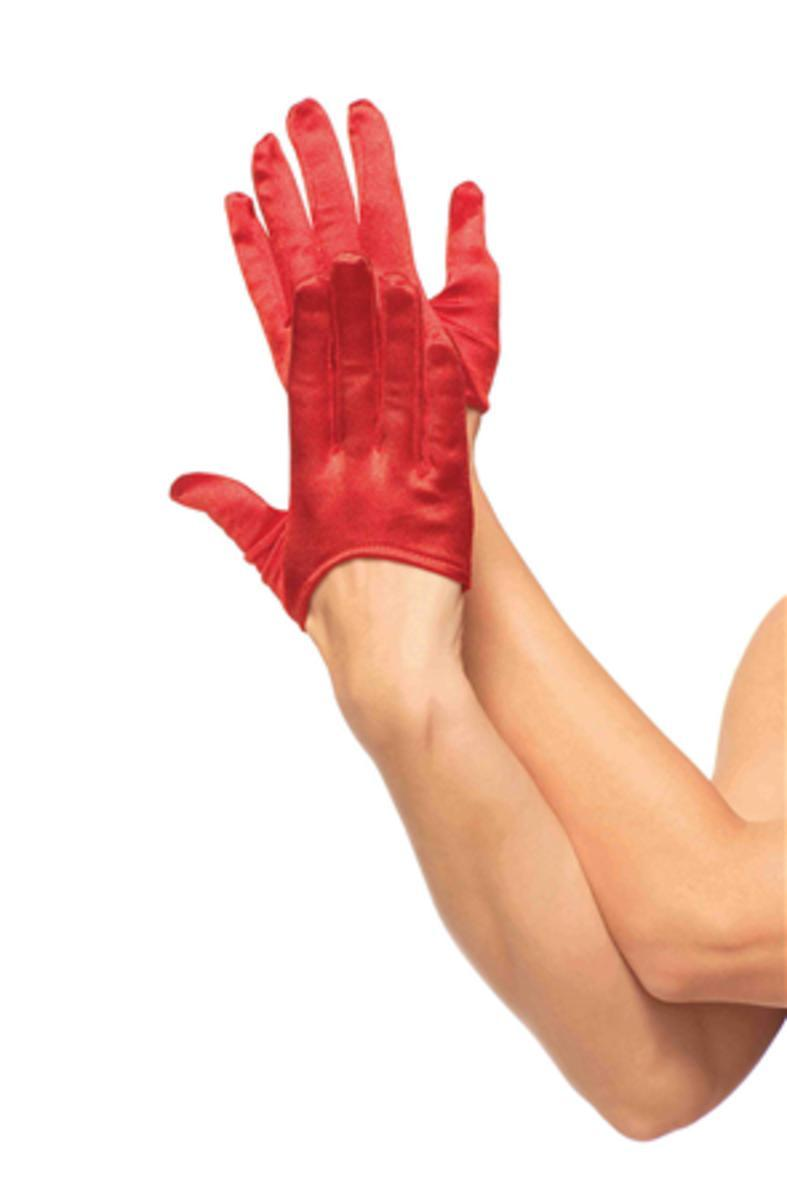 MINI CROPPED SATIN GLOVES in RED