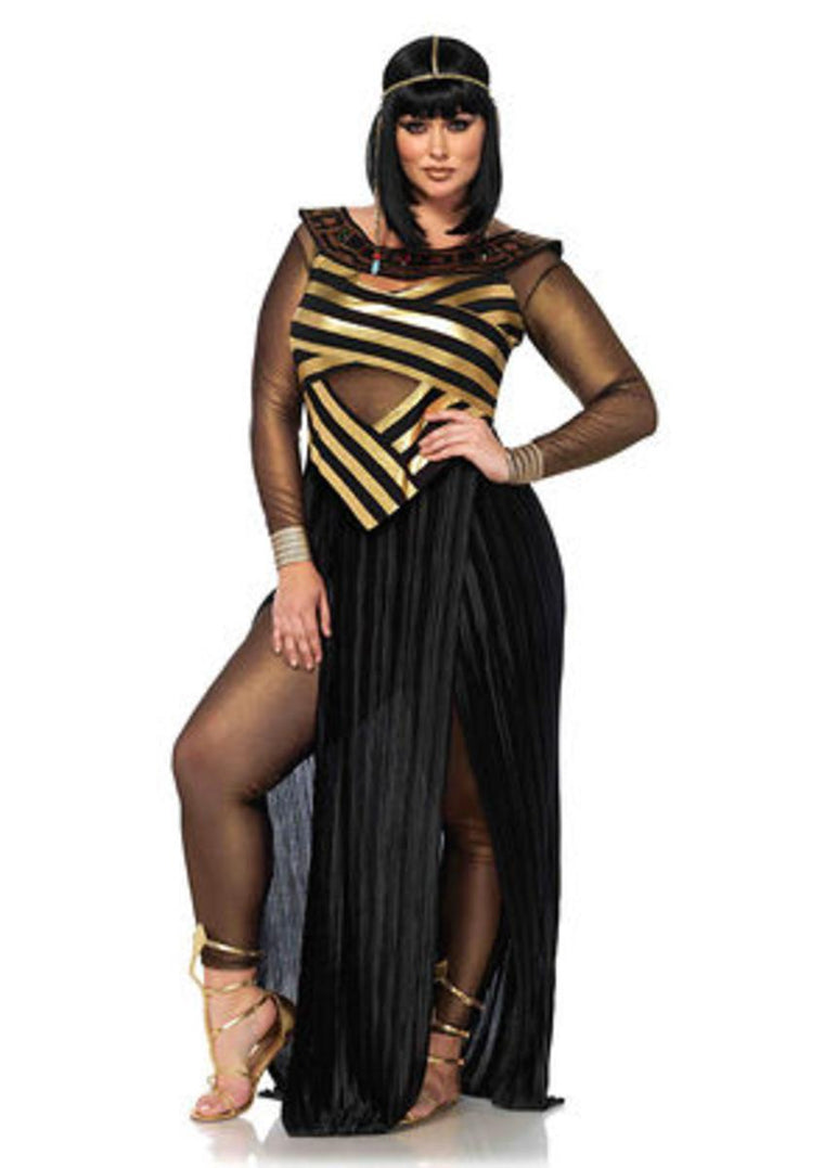 3PC.Nile Queen,catsuit,cut out dress,draped head piece in BLACK/GOLD