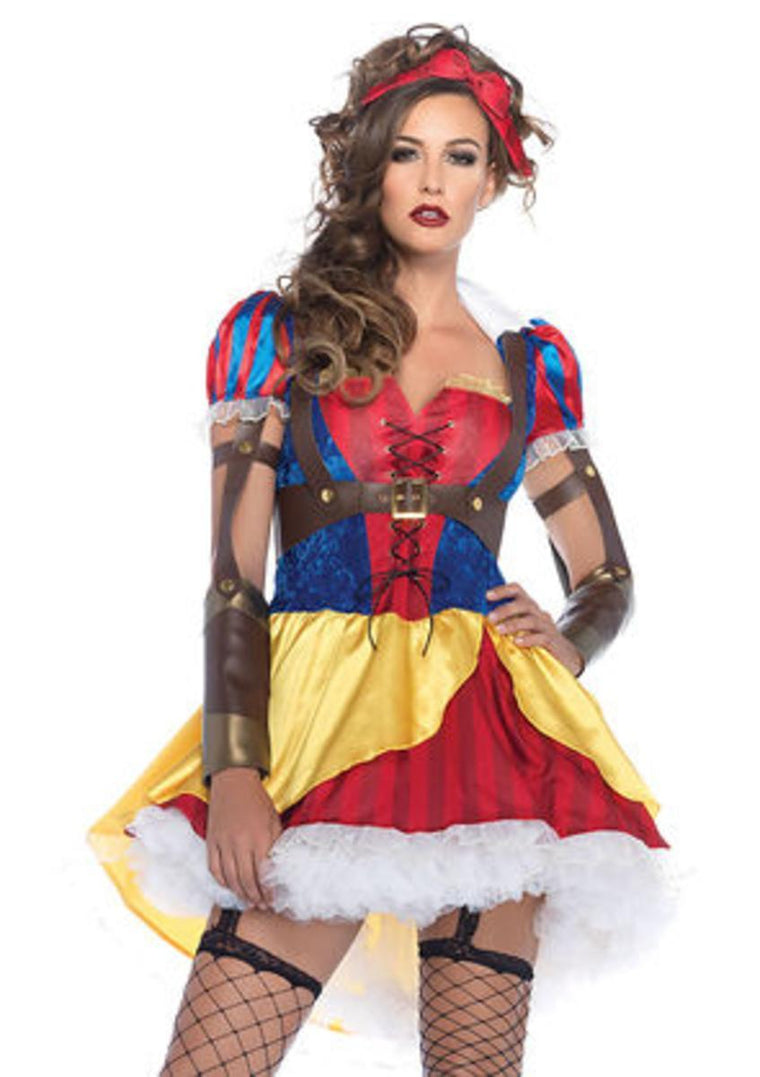 3PC.Rebel Snow White,high/low dress ,body harness,bow headband in MULTICOLOR