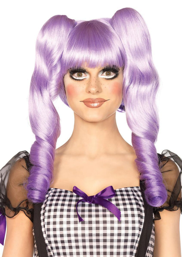 Dolly bob wig with optional ringlet clips in LAVENDER
