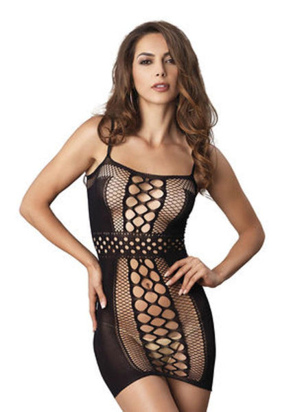 The Seamless Multi Net Mini Dress w/ Belt Detail and Opaque Sides in Black