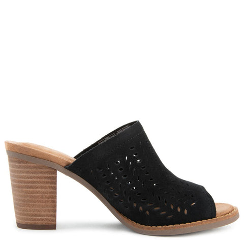 Majorca Mule Heels in Black Suede/Perforated Leaf