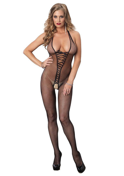 Bare bottom backless fishnet halter bodystocking with lace up front in BLACK