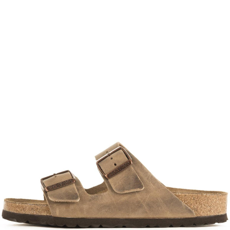 Birkenstock Unisex: Arizona Waxy Leather Soft Footbed Tobacco Brown Sandals