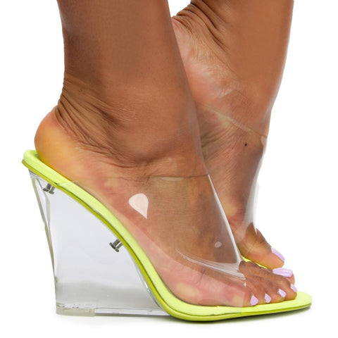 Lemonade Clear Wedge Heels