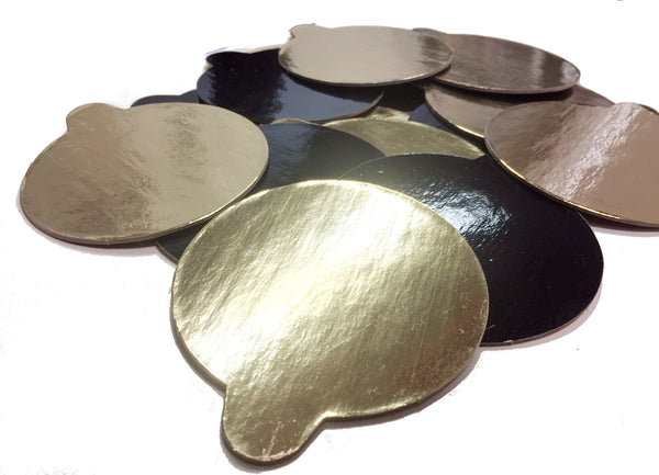 "3.25"" Gold/Black Monoboard with serving tab Carton of 600 pcs."