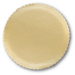 "Sturdy 9"" Round Gold Cake Boards with Scalloped Edge"