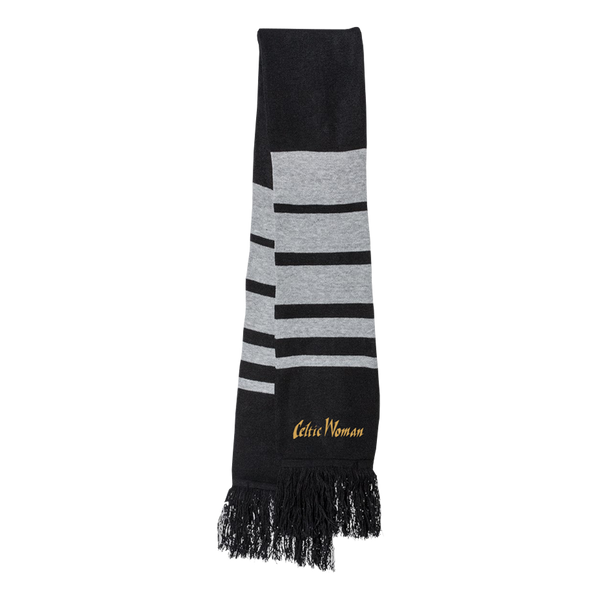 Black and Grey Striped Logo Scarf
