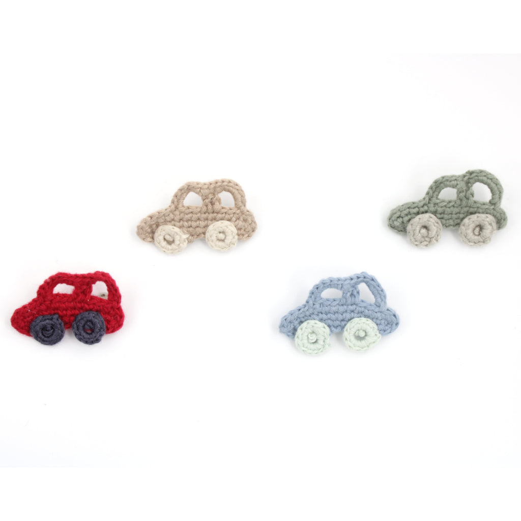 Handmade Organic Car Brooches in various colours