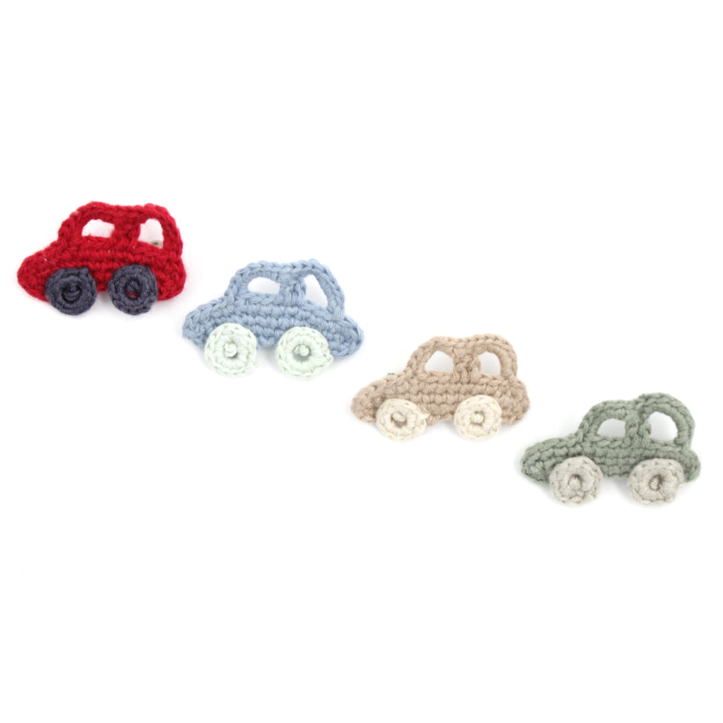 Handmade Organic Car Brooch - Red, Blue, Sand and Shallot