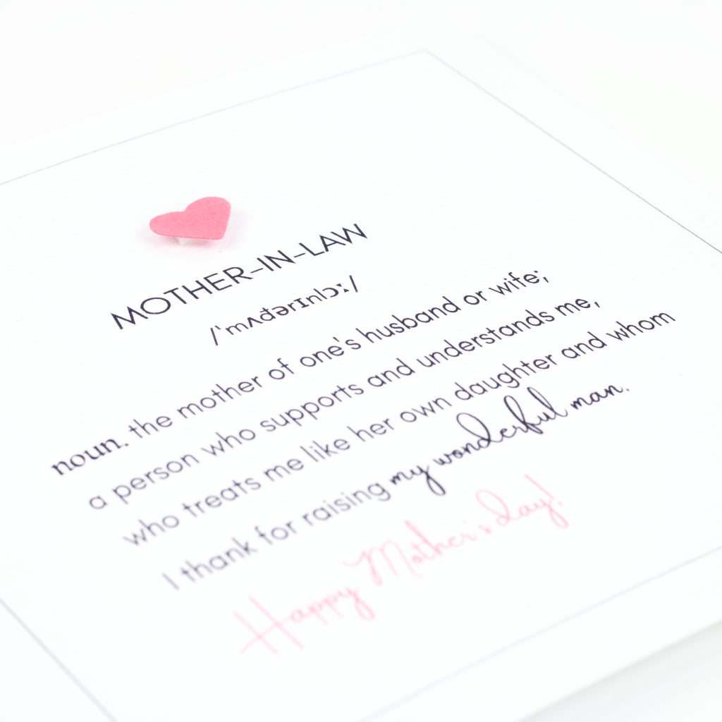 Definition of Mother-in-Law Mother's Day Card - White