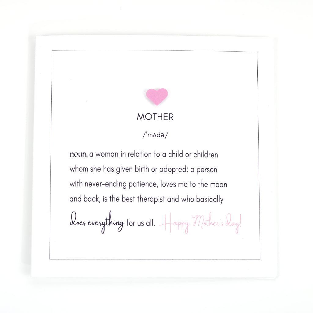 Definition of Mother - Mother's Day Card - White