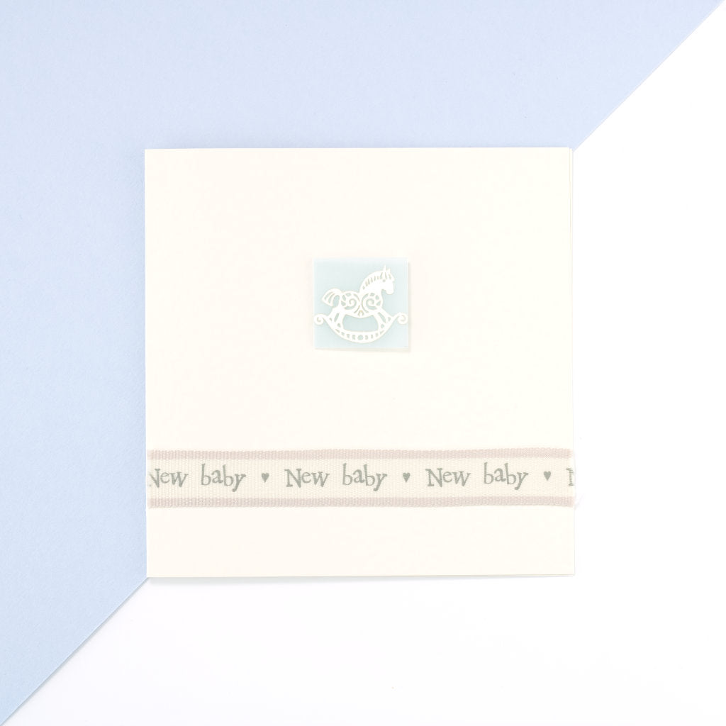 Handmade Baby Boy Rocking Horse Card - Cream