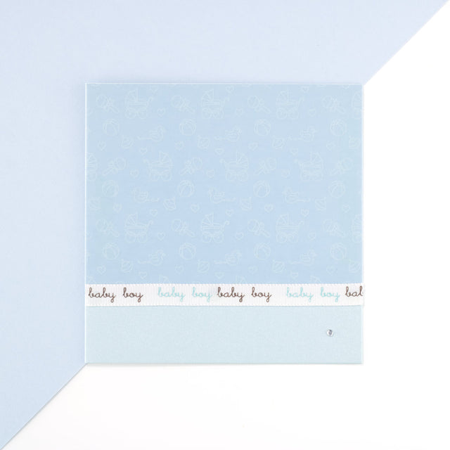Handmade Diamond Baby Boy Card - Bue