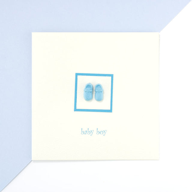 Handmade First Blue Shoes Card - Cream