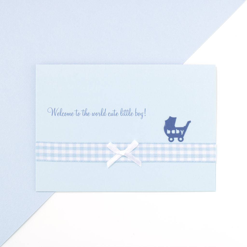 Handmade Welcome To The World Card - Blue