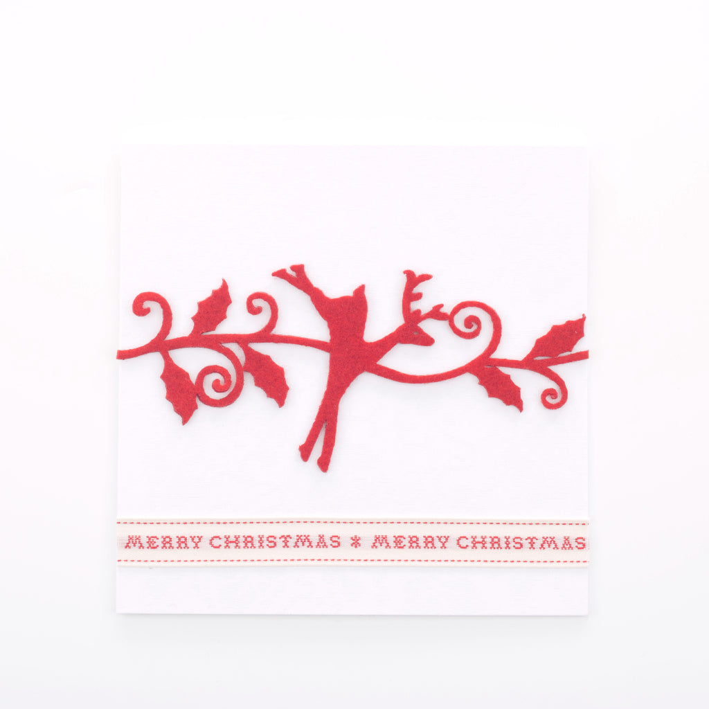 Handmade Red Christmas Reindeer Card - Pearl White