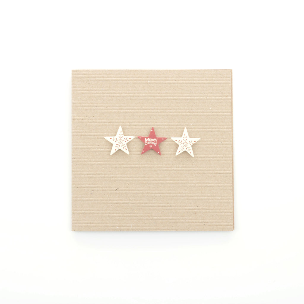 Handmade Three Christmas Stars - Ribbed Brown