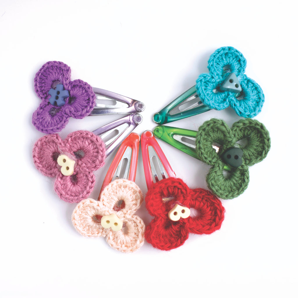Handmade  Mini Three Leaf Hair Clips in various colours