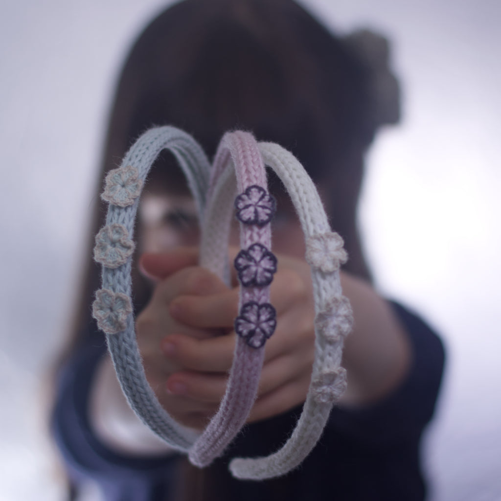Handmade Organic Flowers Hairband - Glacier, Lupin, White (on child's hands)