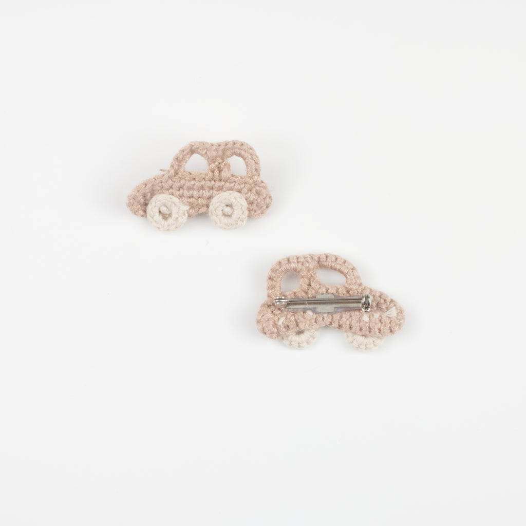 Handmade Organic Car Brooch front and back - Sand