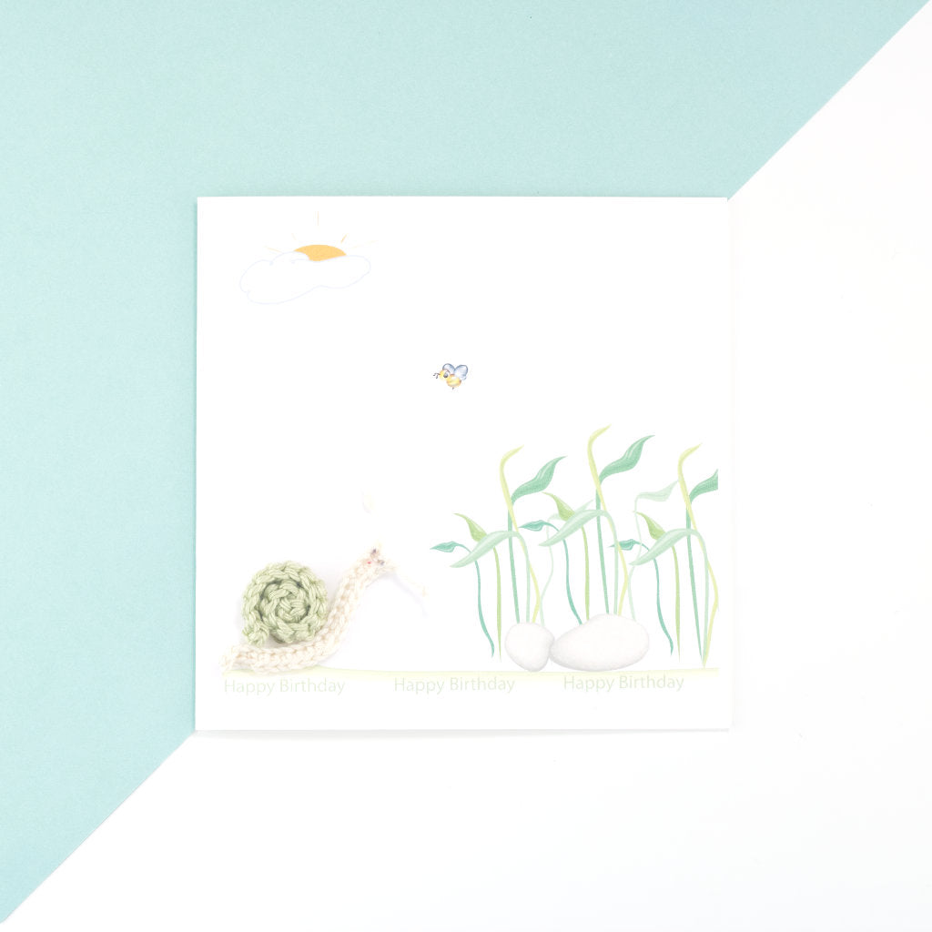 Birthday Snail Card - White