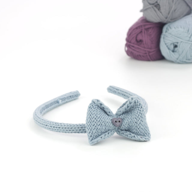 Handmade Organic Bow Hairband - Blue