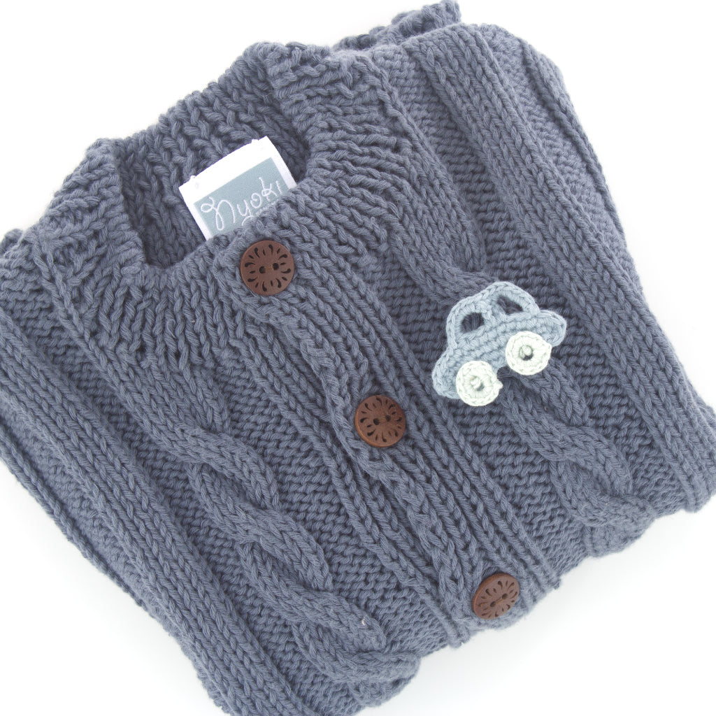 Handmade Car Brooch in a cardigan