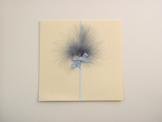 Handmade Baby Blue Dummy Card - Cream