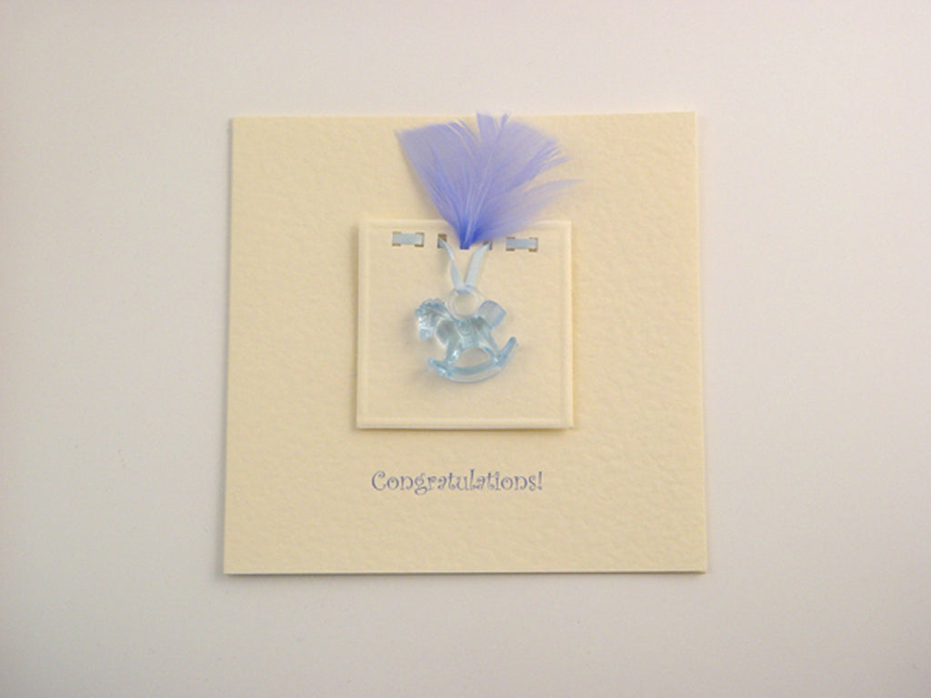 Handmade Blue Rocking Horse Card - Cream