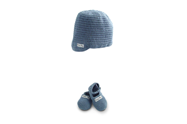 Handmade Organic Baby Boy Hat and Booties - Blue