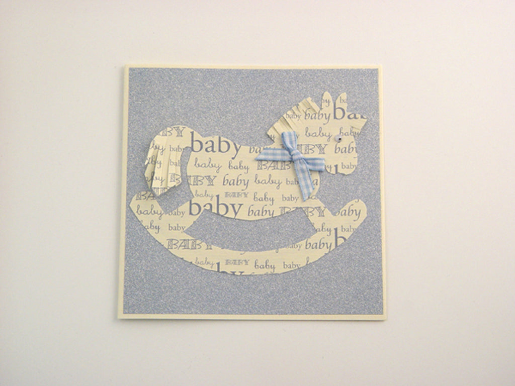 Handmade Blue Sparkly Rocking Horse Card - Cream