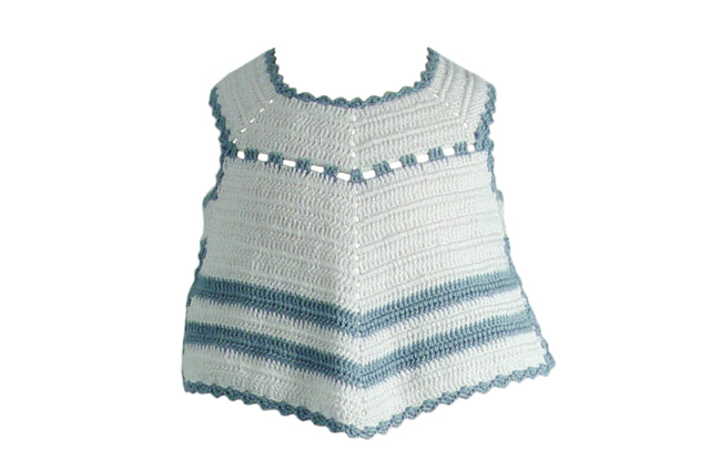 Handmade Cotton Stripy Bib - White/Blue