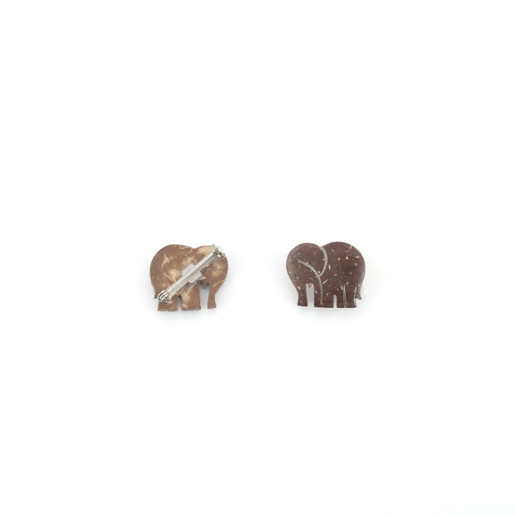 Handmade Coconut Elephant Brooch - Brown