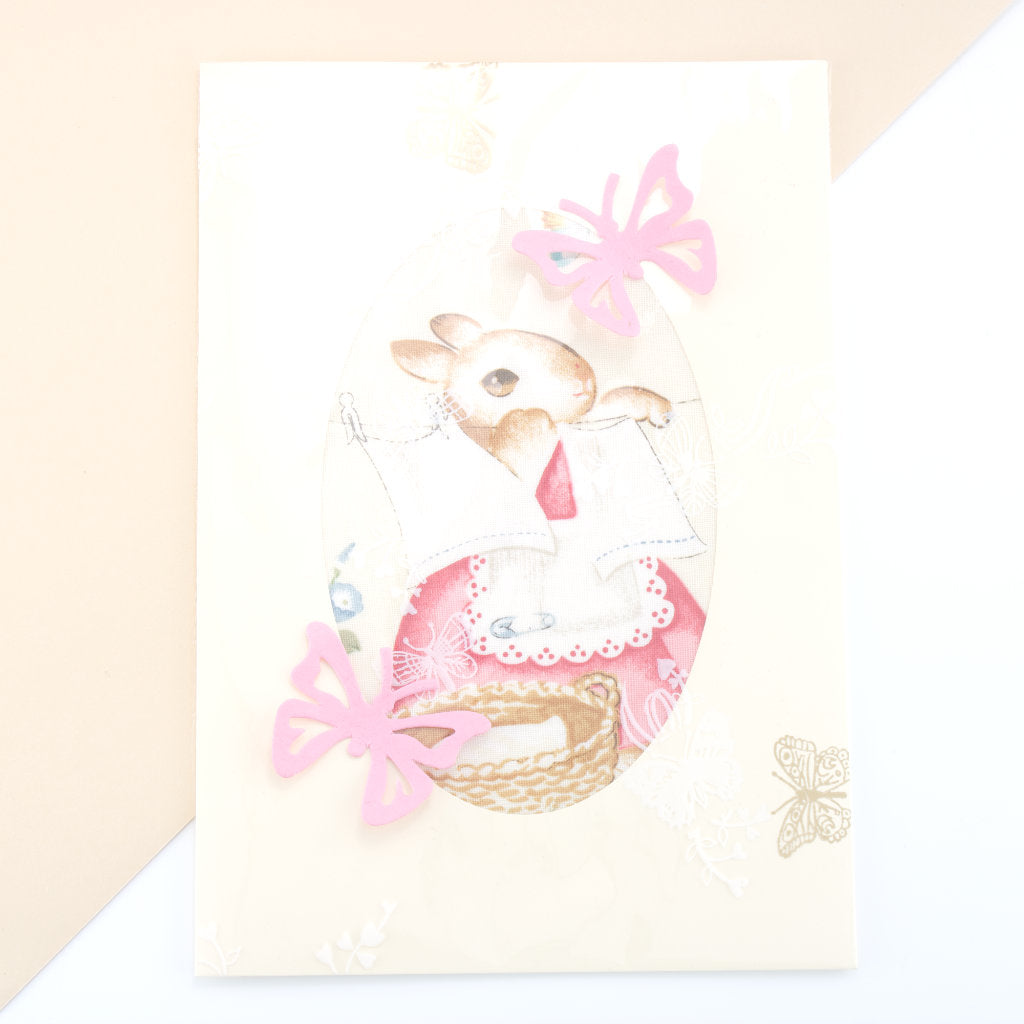 Bunny Mummy Card - Cream