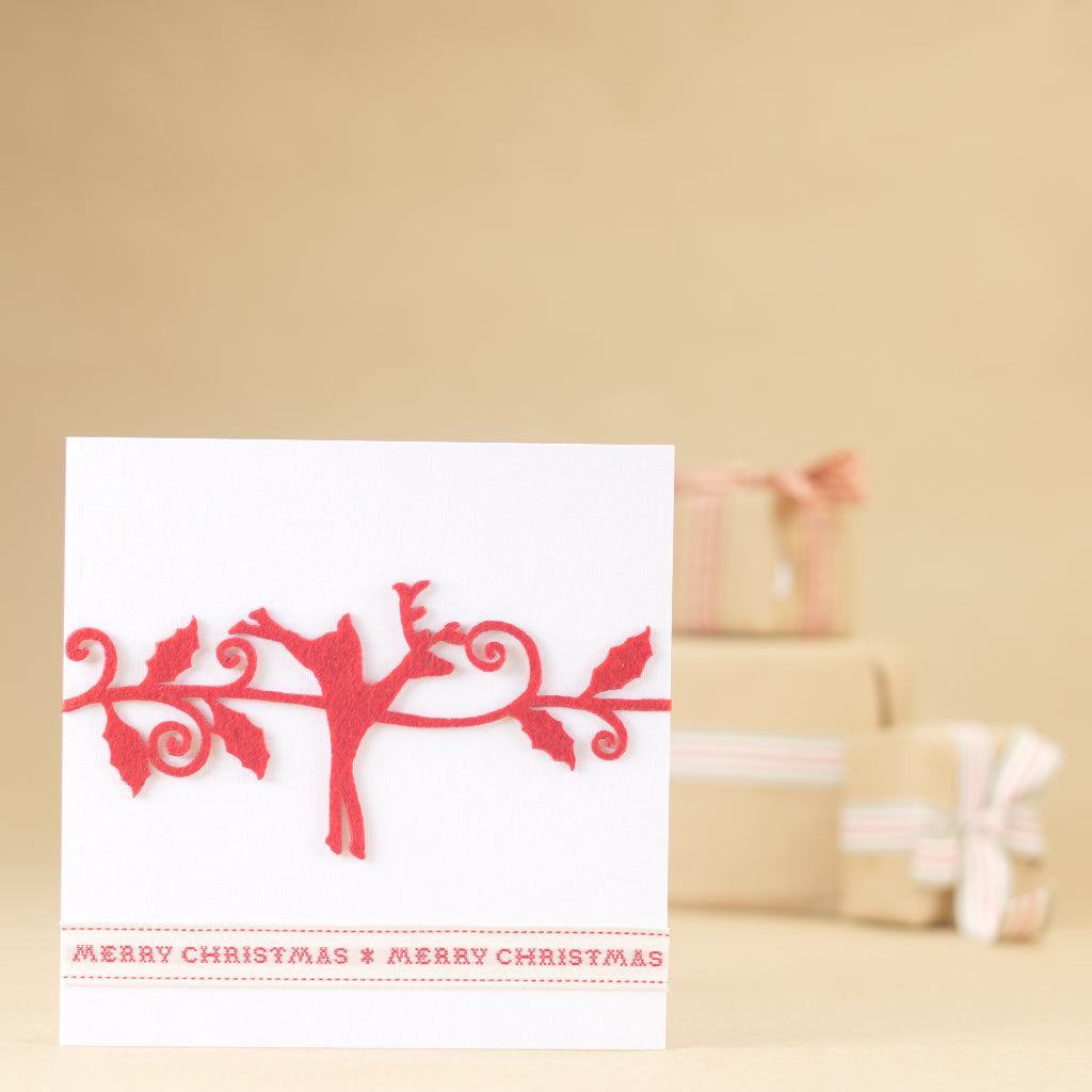 Red Christmas Reindeer Card - Pearl White