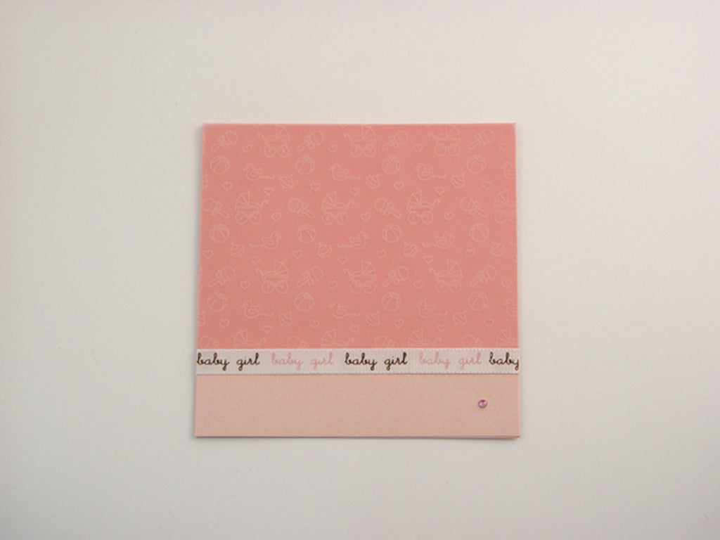 Handmade Diamond Baby Girl Card - Pink