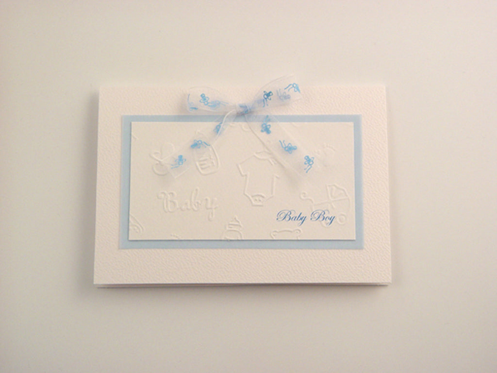 Beautiful baby boy handmade card with embossed baby motifs