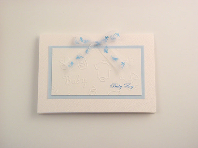 Handmade Baby Boy Card - White