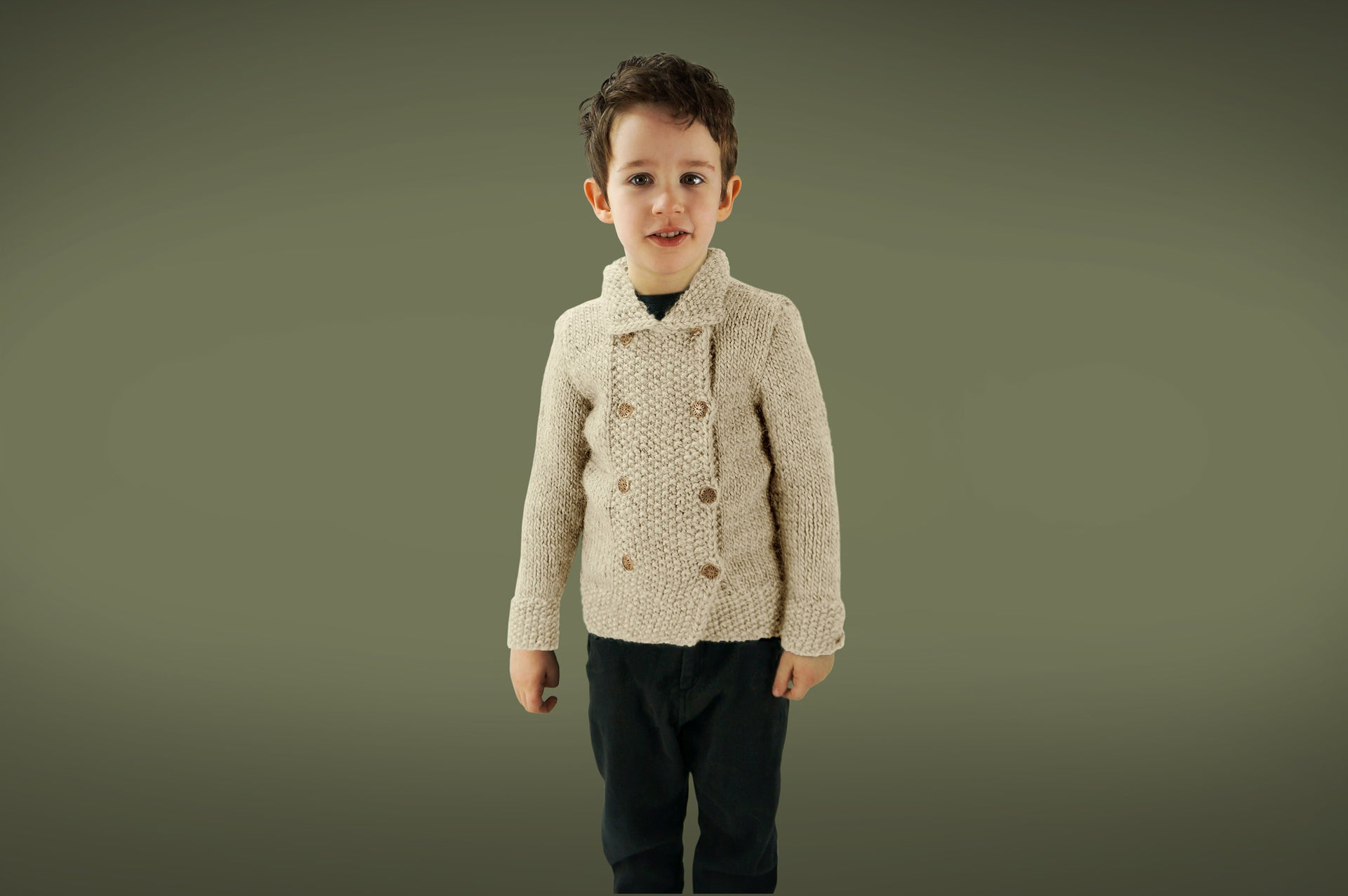 Handmade Double Moss Boy Coat - Frost