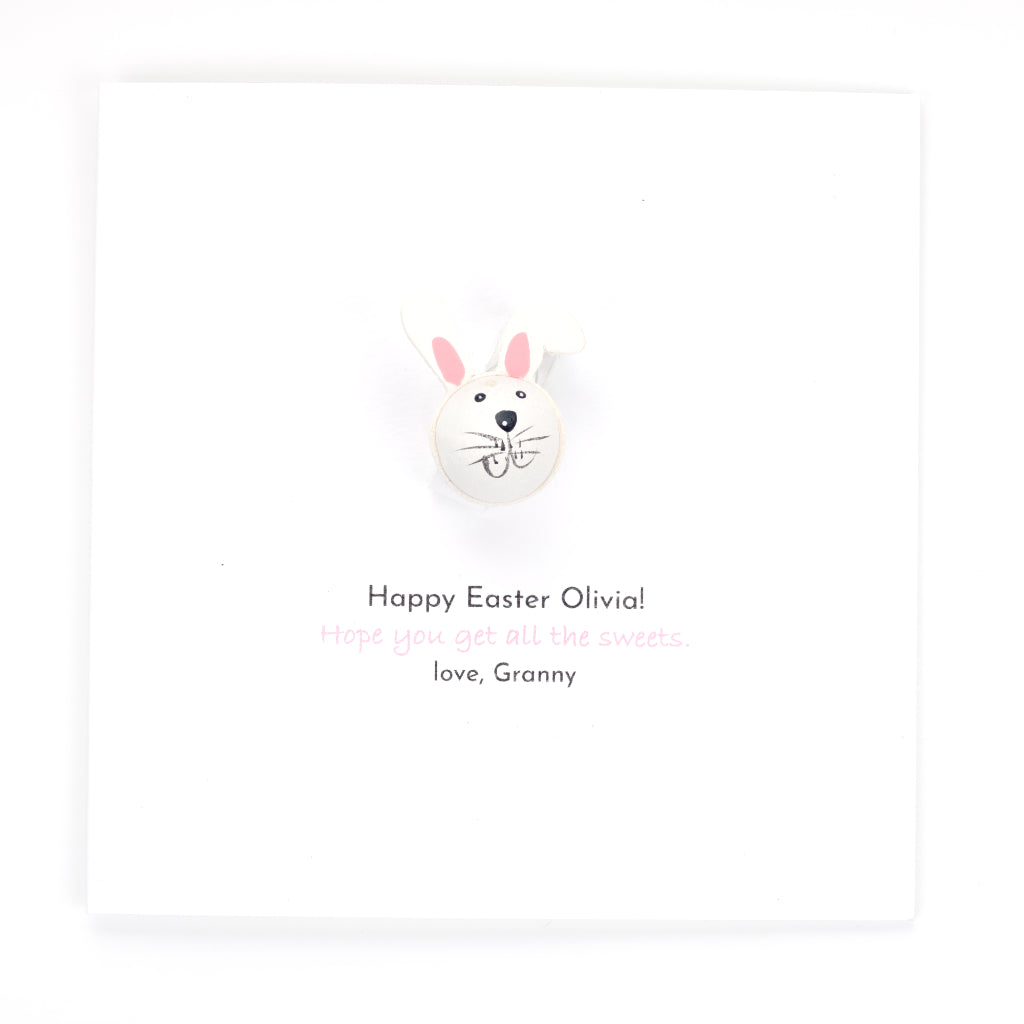Personalised Easter Handmade Card And Gift - White