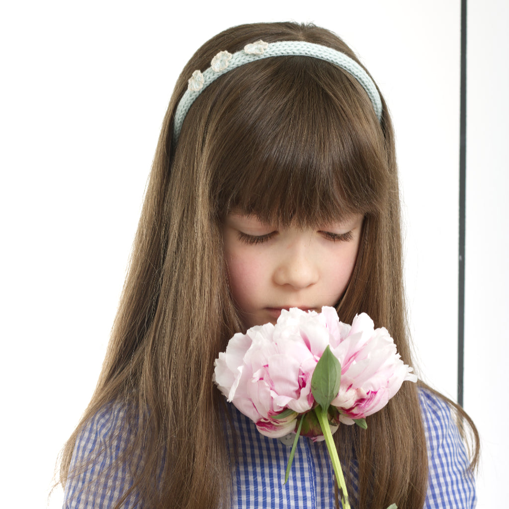 Handmade Organic Flowers Hairband - Glacier (on a child's hair)