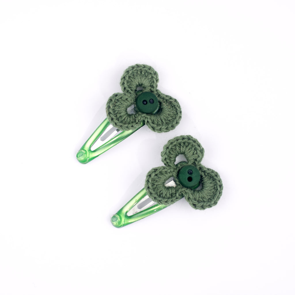 Handmade Mini Three Leaf Hair Clips - Green