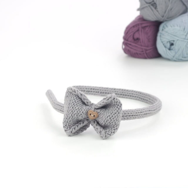 Handmade Organic Bow Hairband - Grey