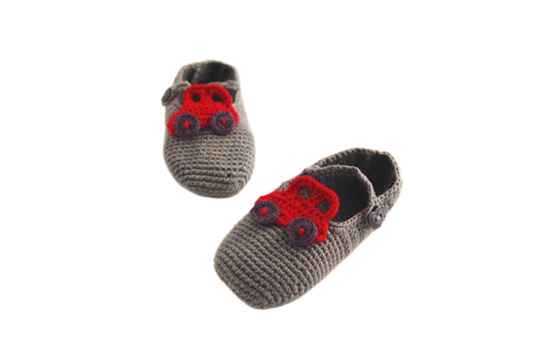 Handmade Organic Car Booties - Grey