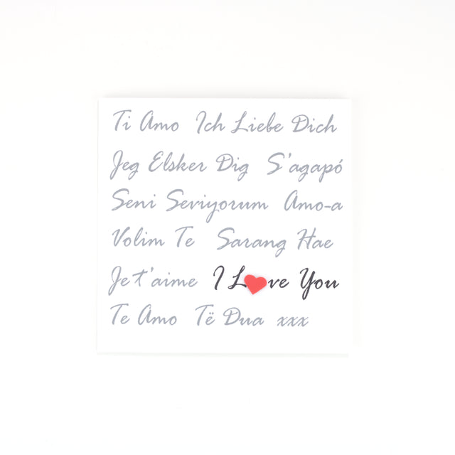 Handmade I Love You Card - White